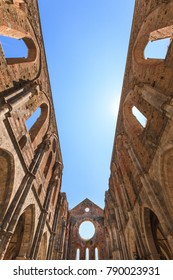 Chiusdino, Italy - July 10, 2015:  The opened roof of the medieval abbey of San Galgano in Tuscany, Italy