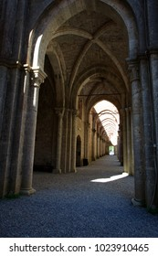 Chiusdino (SI), Italy - September 10, 2017: San Galgano Abbey inside view in Chiusdino village, Siena, Tuscany, Italy, Europe