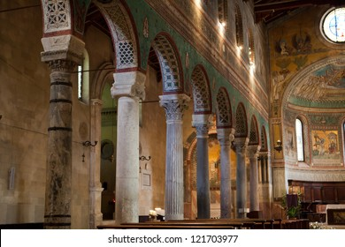 Chiusi - The Romanesque Cathedral  of San Secondiano, built around 560 AD over a pre-existing basilica, and renovated in the 13th C. It has a nave and two aisles supported by antique columns.