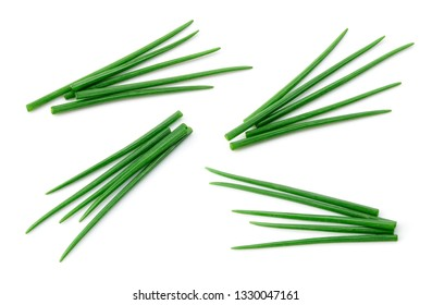 Chives isolated. Young green onion. Collection.