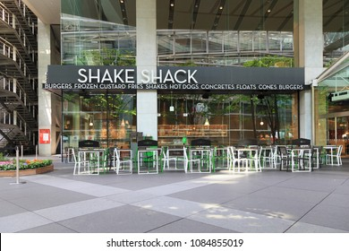 Chiyoda, Tokyo, Japan- April 30, 2018: Shake Shack:Shake Shack in Tokyo: Shake Shack is an American fast casual restaurant chain based in New York City.