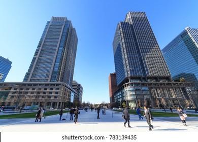 Chiyoda, Tokyo, Japan - December 19, 2017: Marunouchi buildings: Shin marunouchi building, Marunouchi building
