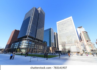 Chiyoda, Tokyo, Japan - December 19, 2017: Marunouchi buildings: Shin marunouchi building, Marunouchi OAZO