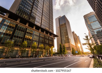 CHIYODA, TOKYO / JAPAN - JULY 11 2017 : Evening view of the business area of Tokyo Otemachi