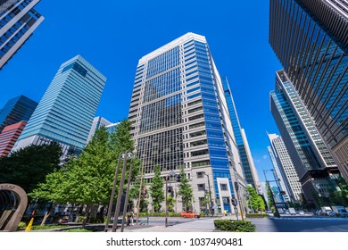 CHIYODA, TOKYO / JAPAN - JULY 30 2016 : Scenery of business district in Otemachi, Chiyoda Ward, Tokyo.