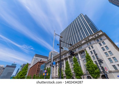 """CHIYODA, TOKYO / JAPAN - MAY 5 2019 : The scenery of """"Marunouchi MY PLAZA"""" in Tokyo Marunouchi. It consists of historic buildings and high-rise buildings. The new building has commercial facilities an"""