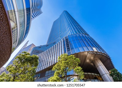 """CHIYODA, TOKYO / JAPAN - NOVEMBER 2 2018 : Scenery of """"Tokyo Midtown Hibiya"""". A high-rise building consisting of theaters, offices and commercial facilities, many people visit."""