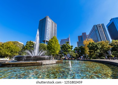 CHIYODA, TOKYO / JAPAN - NOVEMBER 2 2018 : Scenery of fountain plaza of Hibiya Park. It is a park in the office area, a place for businessmen and travelers to relax.