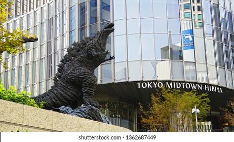 "CHIYODA, TOKYO, JAPAN - NOVEMBER 26, 2018: Godzilla statue near Tokyo Midtown Hibiya. This version of the famous kaiju monster appeared on the movie ""Shin Godzilla"", released in 2016."