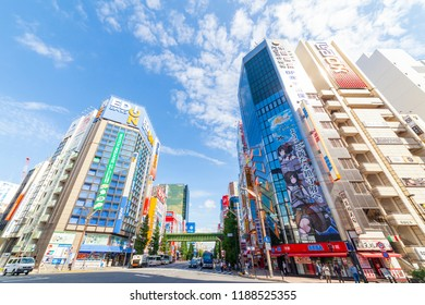 Chiyoda, Tokyo, Japan: September 18, 2018: Akihabara is a common name for the area around Akihabara Station in the Chiyoda ward of Tokyo. It has electric, anime game manga towns for tourist and otaku.