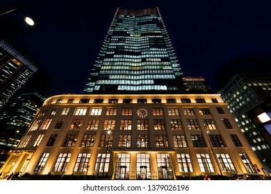Chiyoda, Tokyo, Japan-April 19, 2019: Night view of Tokyo Central Post Office: Tokyo Central Post Office was one of the first postal offices.  Now a building of JP Tower is extended.
