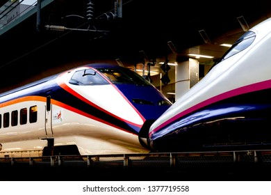 Chiyoda, Tokyo, Japan-April19, 2019: Tohoku Shinkansen: The Shinkansen, meaning new trunkline, but colloquially known in English as the bullet train, is a network of high-speed railway lines in Japan.