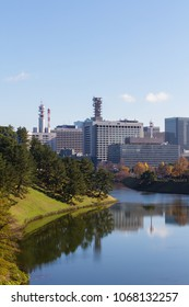 CHIYODA-KU, TOKYO, JAPAN - NOVEMBER 23rd 2017. Japanese government buildings in Kasumigaseki as seen from across the Imperial Palace moat.