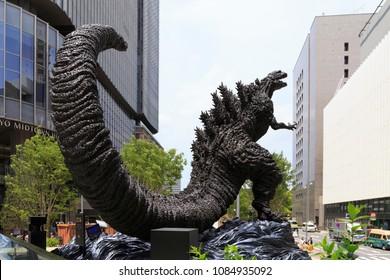 Chiyoda,Tokyo,Japan-April 30,2018: Shin Godzilla: Shin Godzilla Statue at Hibiya Chanter in Tokyo, Japan.