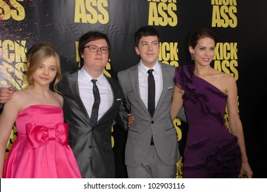"Chloe Moretz, Clark Duke, Christopher Mintz-Plasse and Lyndsy Fonseca at the ""Kick-Ass"" Los Angeles Premiere, Arclight Theater, Hollywood, CA. 04-13-10"