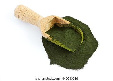 chlorella algae powder with wooden scoop isolated on white background  top  view