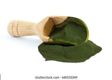 Chlorella algae powder with wooden scoop isolated on white background