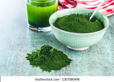 Chlorella or green barley. Detox superfood. Spirulina powder.