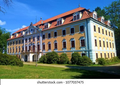 Chlum u Trebone, Czech republic - August 21, 2017: Chlum u Trebone castle in park, Southern Bohemia