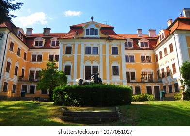 Chlum u Trebone, Czech republic - August 21, 2017: Chlum u Trebone castle front entrance view, South Bohemia