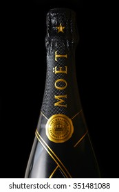 CHLUMCANY, CZECH REPUBLIC, DECEMBER 13, 2015:  Moet & Chandon champagne isolated on a black background