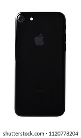 CHLUMCANY, CZECH REPUBLIC, DECEMBER 30, 2017: Apple iPhone 7 in the jet black color isolated on white background