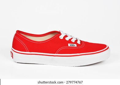 CHLUMCANY, CZECH REPUBLIC, MAY 2, 2015: Vans Authentic Red sneakers isolated on a white background
