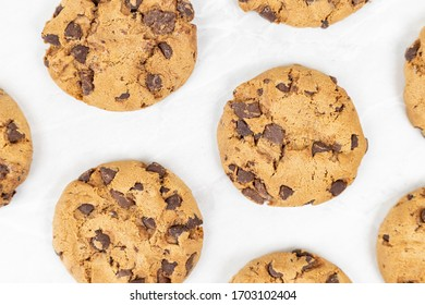 Choco biscuits on the grey marble table background