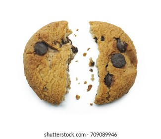 Choco chip cookie, Broken piece with crumbs, Tasty sweet biscuit chocolate pastry, Isolated on white background, Top view