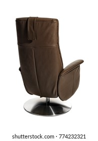 Chocolat brown leather turnable recliner chair for seniors on white background. Back/side view.