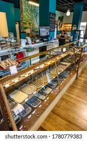 Chocolat, Quintessential Chocolates retail outlet in  Fredericksburg, Texas, USA, April 15, 2015