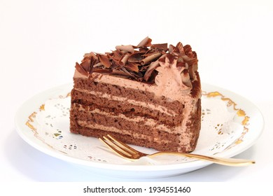 Chocolat torte on white background