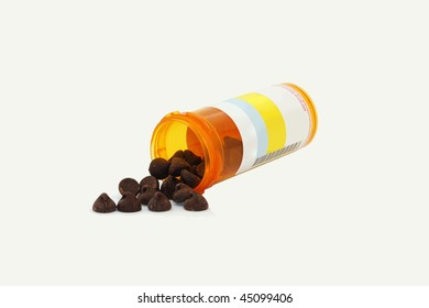 Chocolate Addiction - chocolate chips in a pill bottle