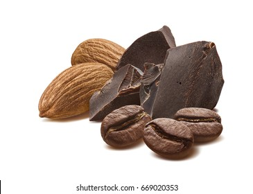 Chocolate almond coffee mocha beans isolated on white background as package design element