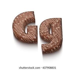 Chocolate alphabet letter G with cream in 3d rendered on white background.