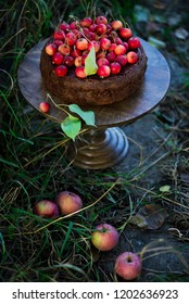 Chocolate apples cake. Outdoor  photo.selective focus