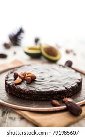 Chocolate and avocado nut cake