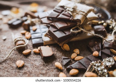 Chocolate background in brown vintage style