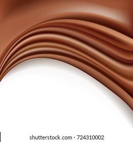 chocolate background with soft creamy waves melting on white. raster illustration
