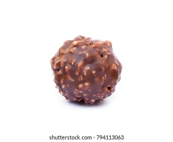 Chocolate ball confection candy isolated on white background