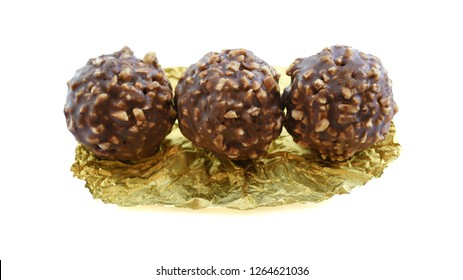Chocolate ball in the milk produced in Italy.