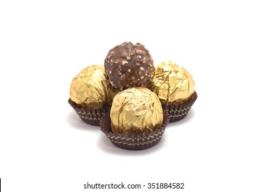 chocolate ball in the milk produced in Italy