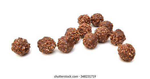 Chocolate ball on white background