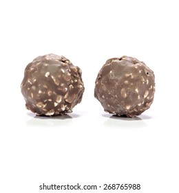 Chocolate balls or bon bon are praline or may be snack when afternoon.