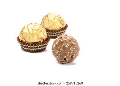 Chocolate balls are praline or may be snack when afternoon