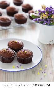 Chocolate banana muffins, selective focus