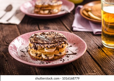 Chocolate banana pancakes, food photography, great simple breakfast