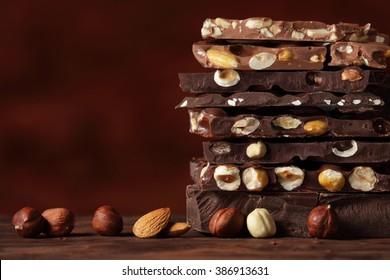 Chocolate / Chocolate bar / chocolate background/ nut chocolate / chocolate tower