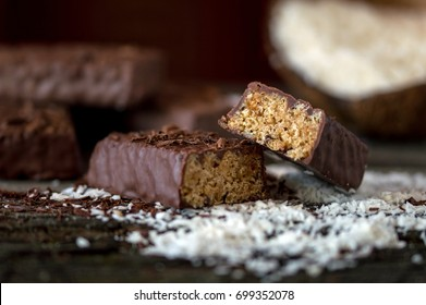 A chocolate bar with caramel and coconut, a delicious addition to the right breakfast - healthy food