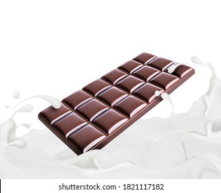 Chocolate bar drowning in milk splashes on a white background